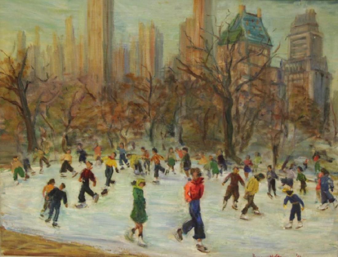 """HOLTZMANN, Fanny. Oil on Canvas. """"Central"""