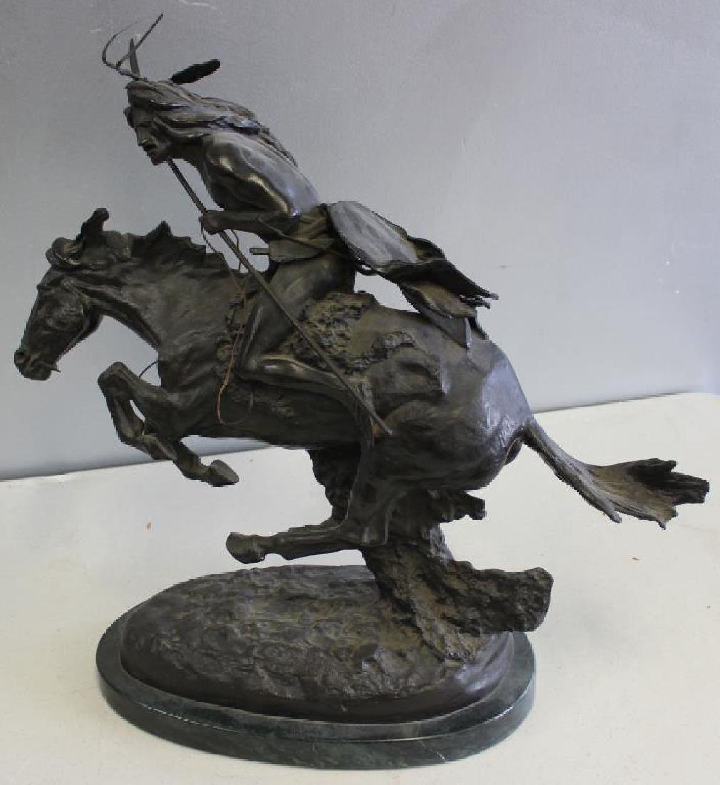 REMINGTON, Frederic. Bronze Mounted on Marble.