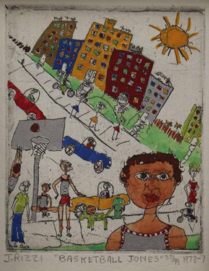"""RIZZI, James. Hand Colored Etching. """"Basketball"""