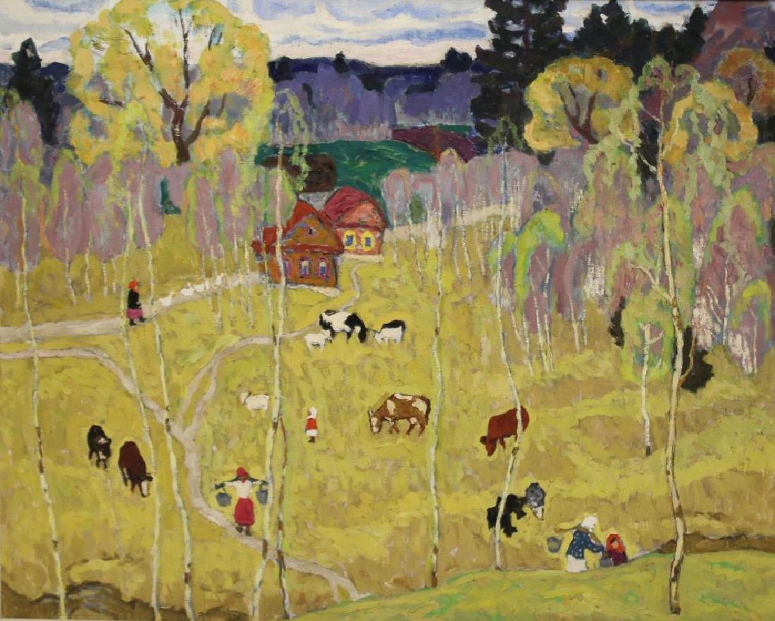 """KOGAN, Moisey. Oil on Canvas. """"Beginning of May""""."""
