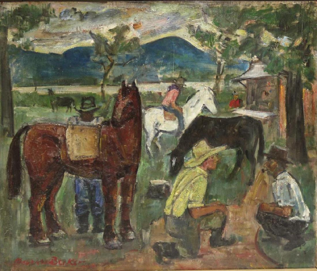 "BECKER, Maurice. Oil on Panel. ""Horse Dealers."""