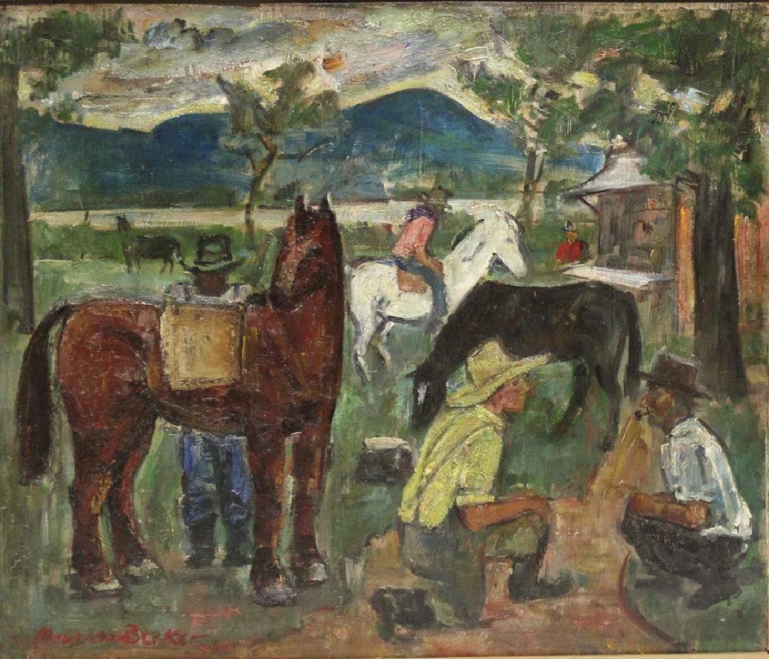 "BECKER, Maurice. Oil on Panel. ""Horse Dealers."""