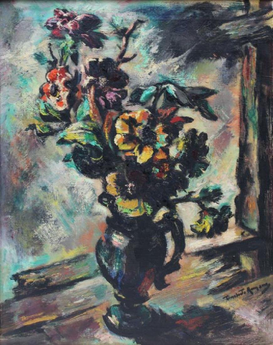 ROMANO, Umberto. Oil on Canvas. Floral Still Life.