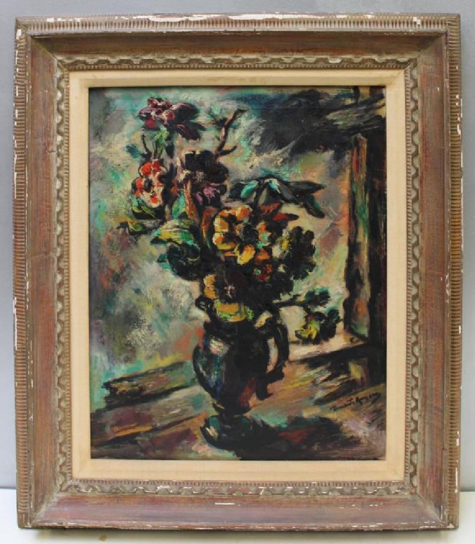 ROMANO, Umberto. Oil on Canvas. Floral Still Life. - 2