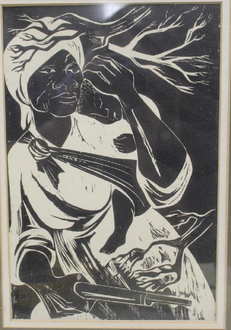UNSIGNED. Woodcut. African American Woman & Child