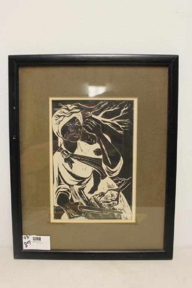 UNSIGNED. Woodcut. African American Woman & Child - 2
