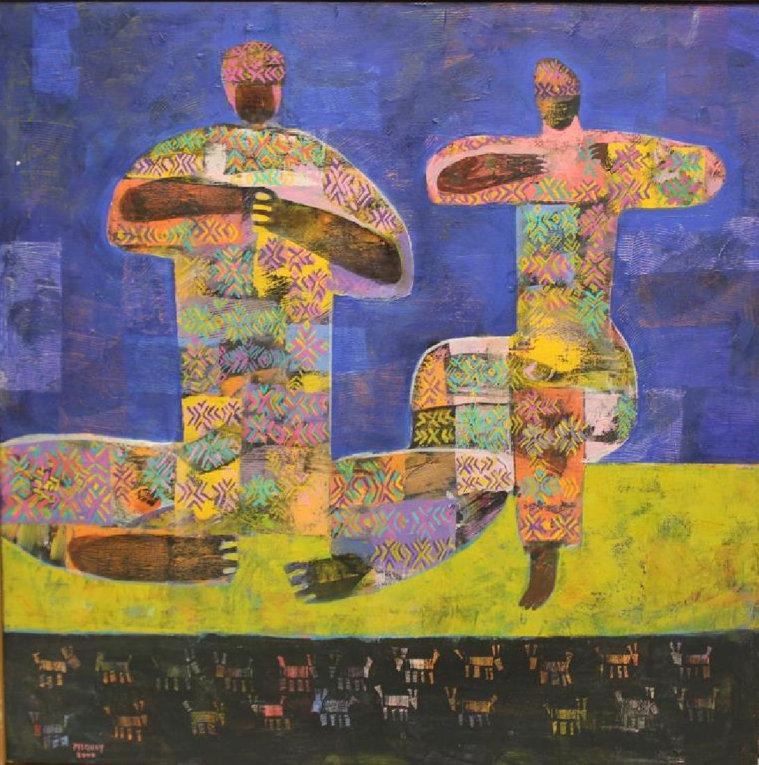 """PISQUIY, Roland. Oil On Canvas. """"Flauteros""""."""