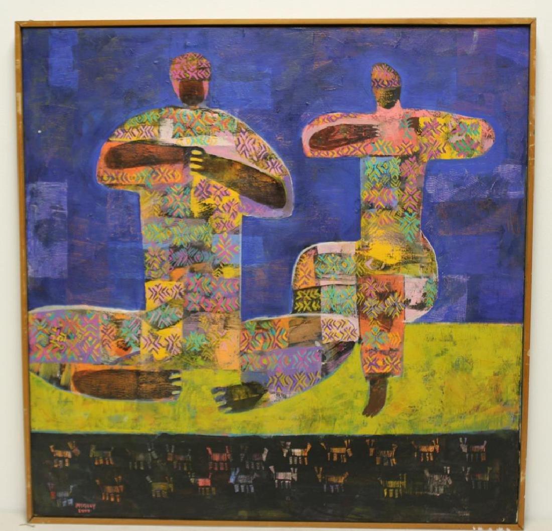 """PISQUIY, Roland. Oil On Canvas. """"Flauteros"""". - 2"""