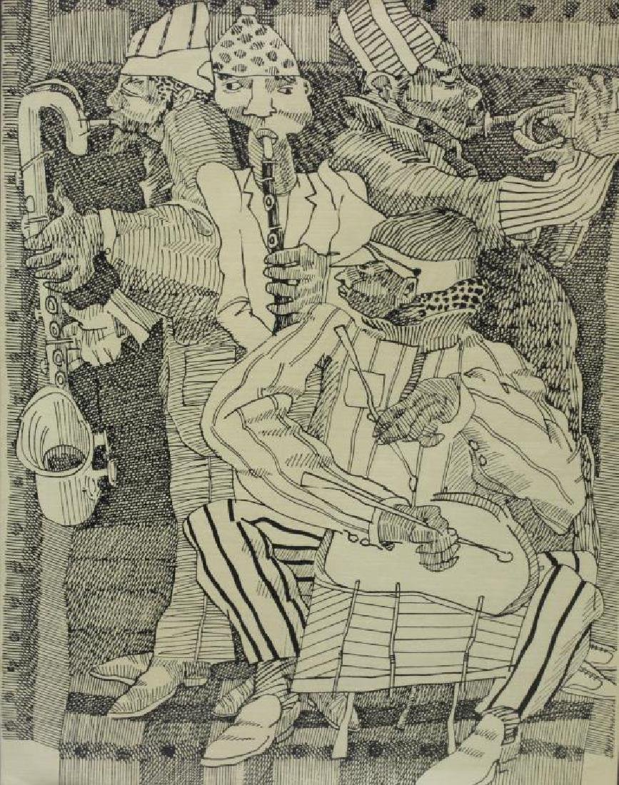 "MCNEILL, Lloyd. Ink Drawing ""Musicians""."