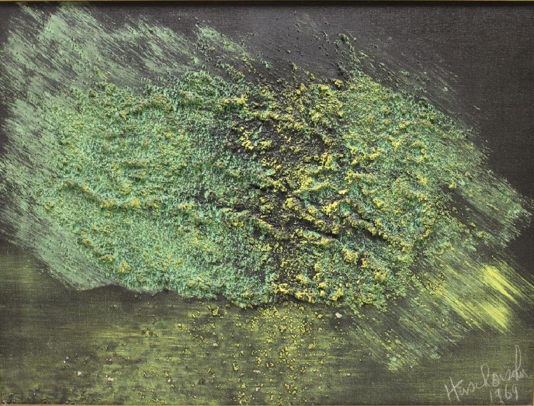 ILLEGIBLY Signed. Oil on Canvas. Green Abstraction.