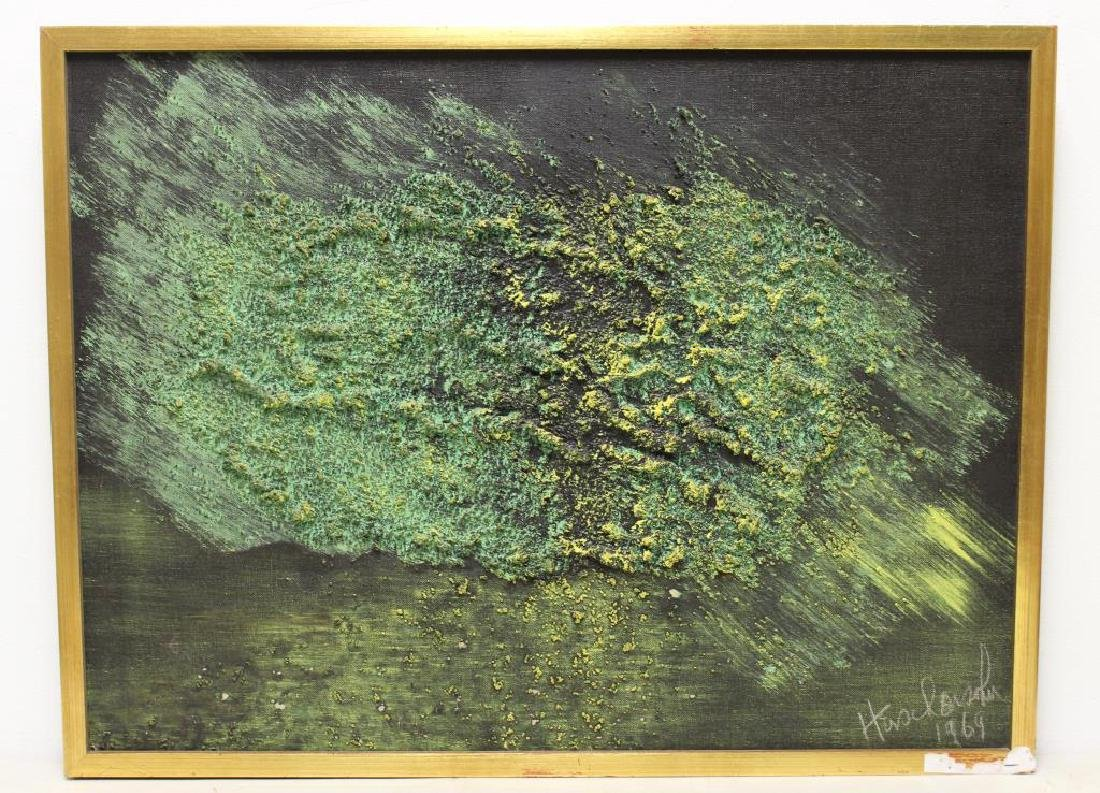ILLEGIBLY Signed. Oil on Canvas. Green Abstraction. - 2
