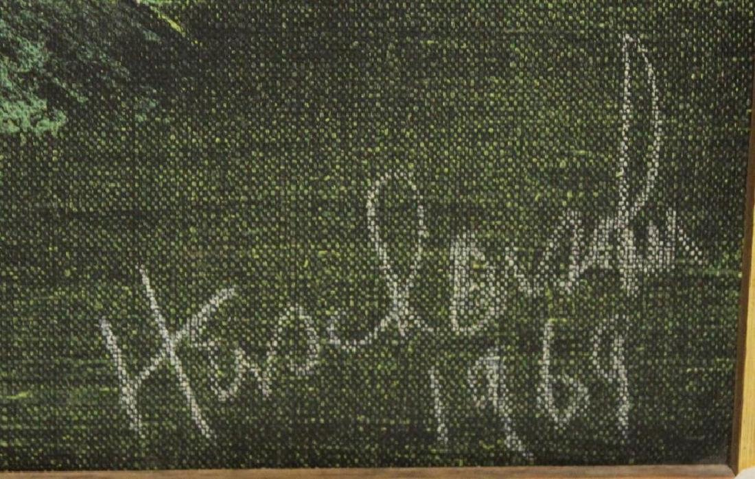 ILLEGIBLY Signed. Oil on Canvas. Green Abstraction. - 3
