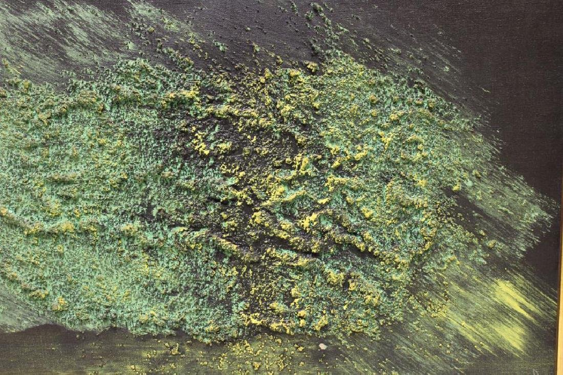 ILLEGIBLY Signed. Oil on Canvas. Green Abstraction. - 4