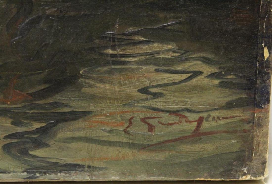 ILLEGIBLY Signed. Oil on Canvas. Boats at Harbor. - 3