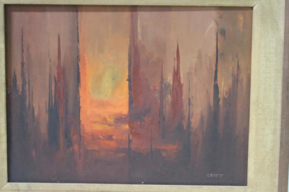 CROFT. Oil On Board. Abstraction in Warm Tones. - 2