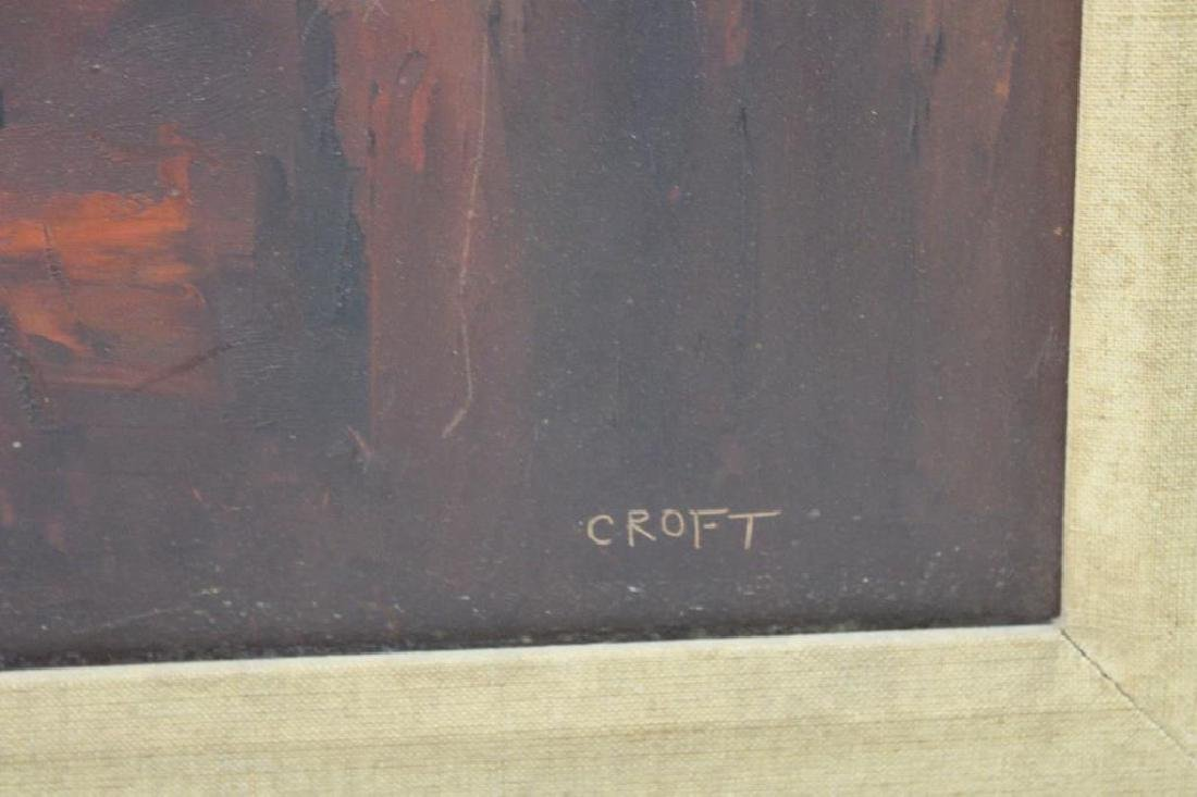 CROFT. Oil On Board. Abstraction in Warm Tones. - 3