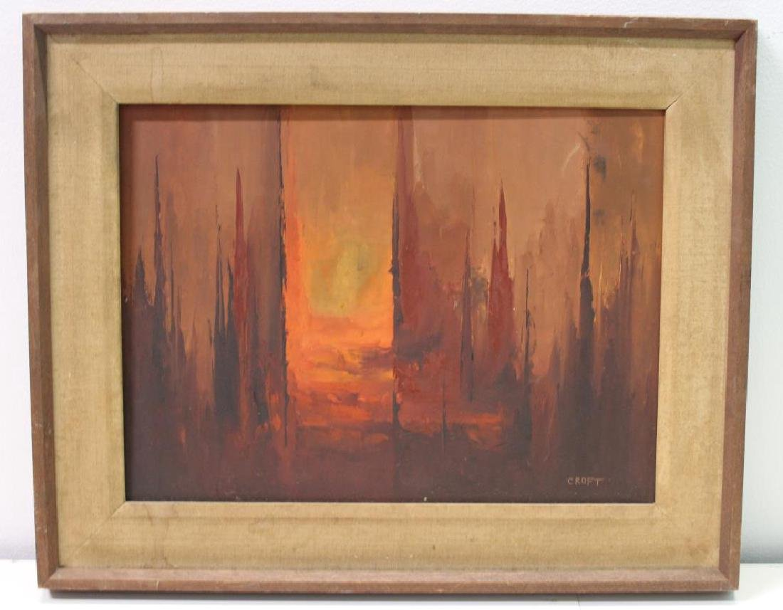 CROFT. Oil On Board. Abstraction in Warm Tones. - 5