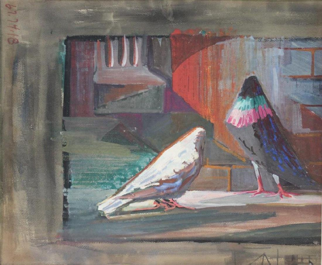 UNSIGNED. Gouache on Paper Board. Birds.
