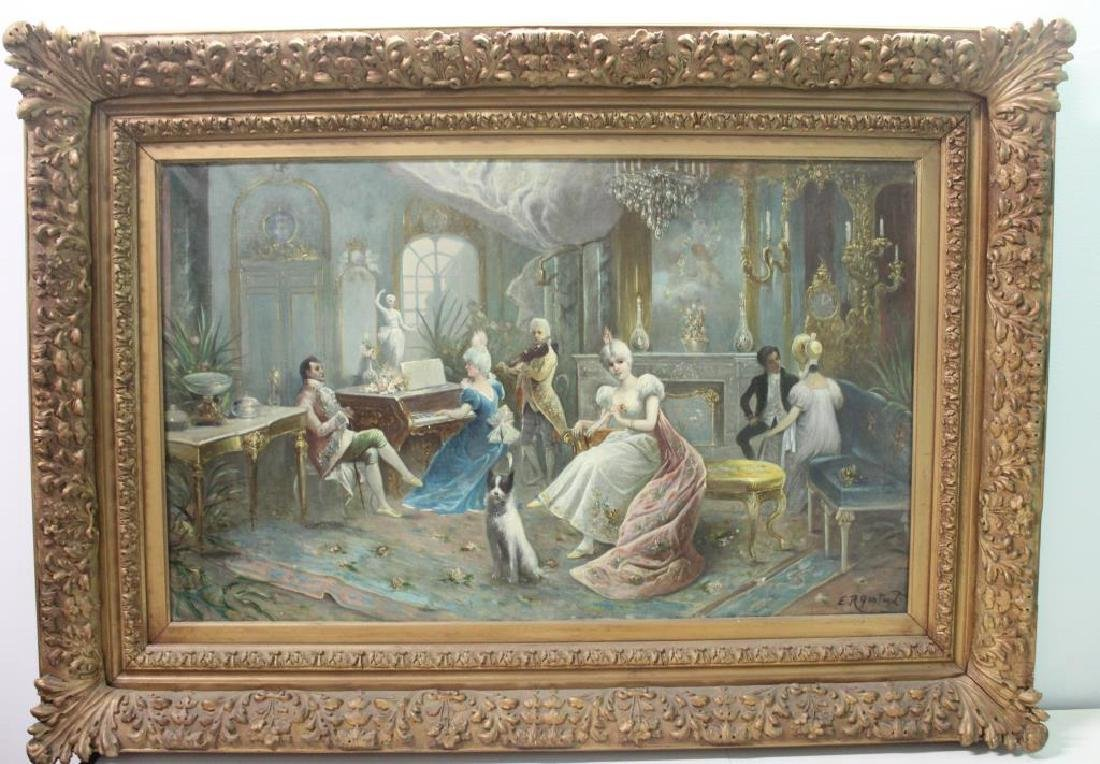 GONTART, E.R. Oil on Canvas .19th Century Genre - 2