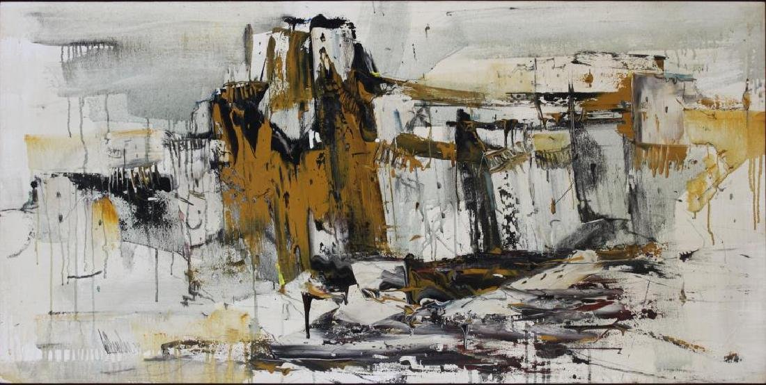 HOLLANDER, Gino. Oil on Canvas. Abstract Landscape