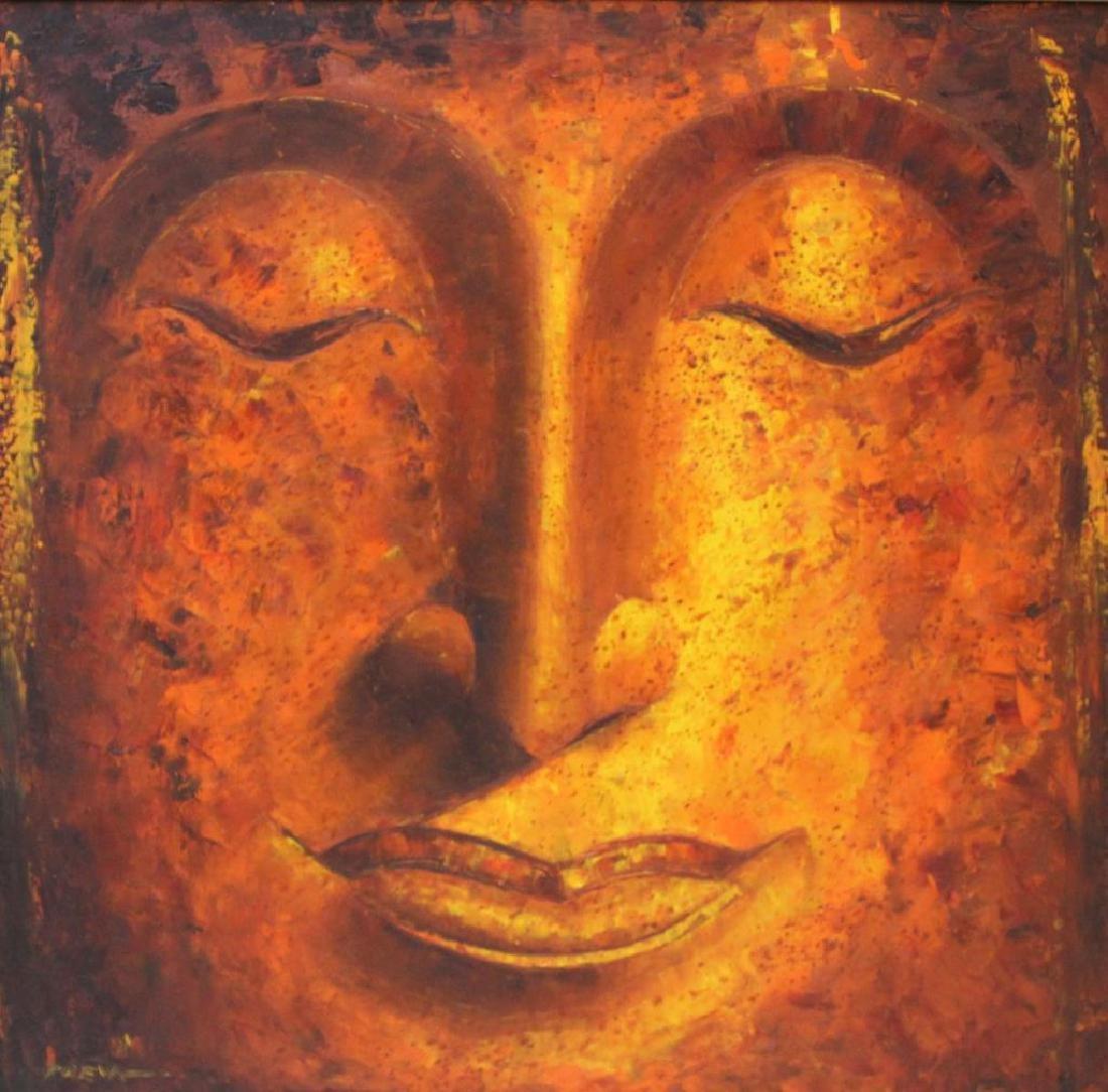 PREYA. Oil on Canvas. Buddha Face.