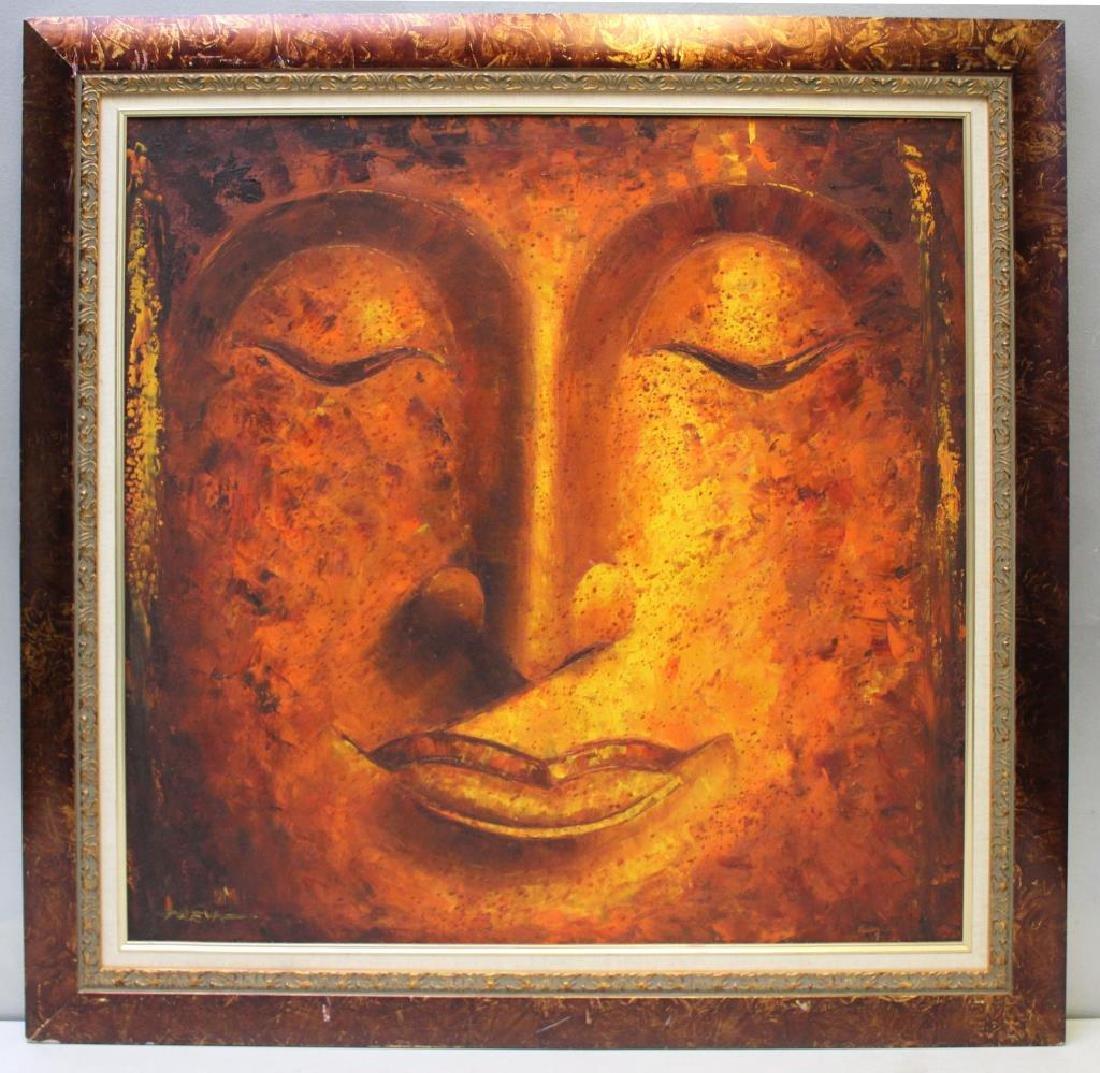 PREYA. Oil on Canvas. Buddha Face. - 2
