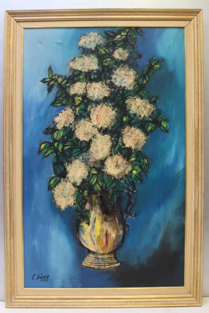 JIZARRY Oil on Canvas. Floral Still Life. 1965.