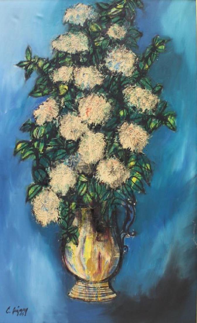 JIZARRY Oil on Canvas. Floral Still Life. 1965. - 2