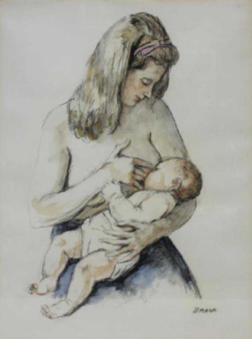 BROCK. Watercolor and Chalk. Woman Feeding Baby.