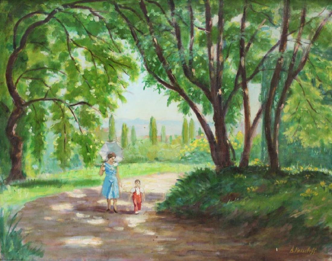 VASSILOFF. Oil on Canvas. Woman Walking Child.