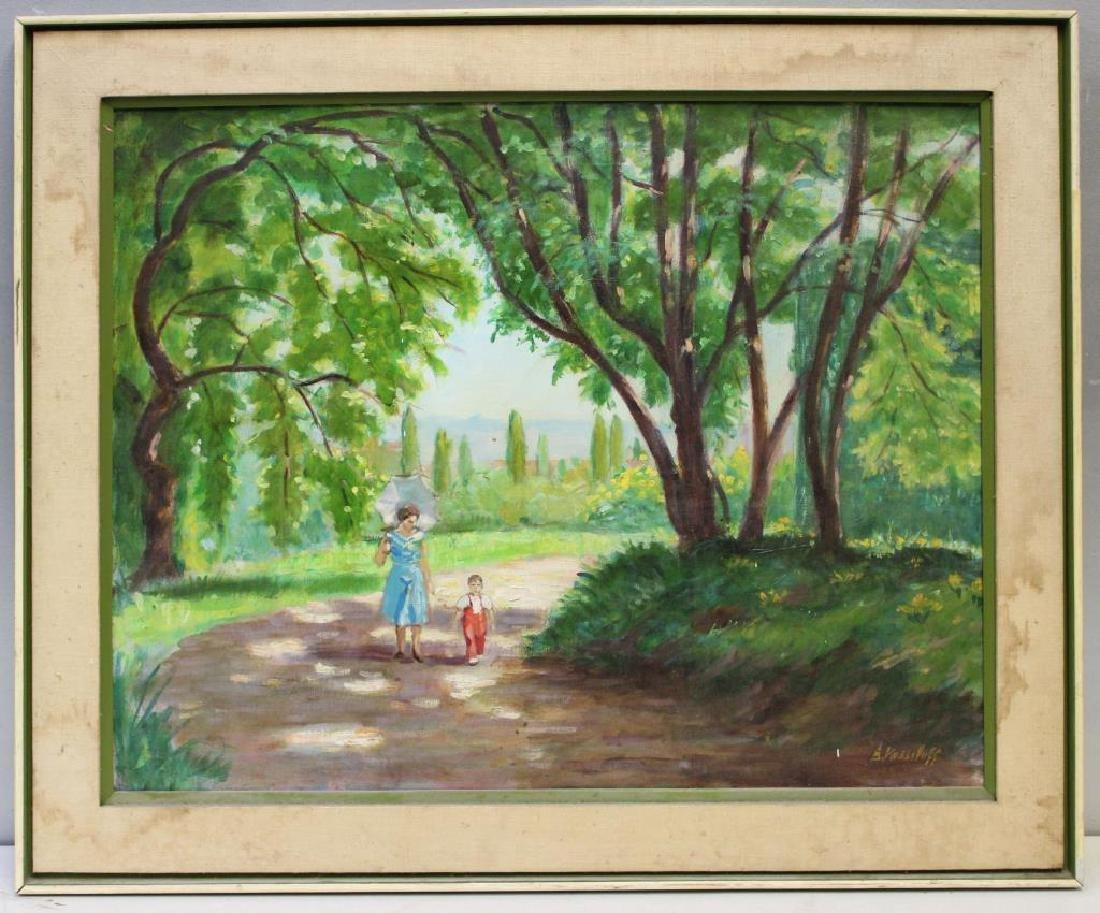 VASSILOFF. Oil on Canvas. Woman Walking Child. - 2