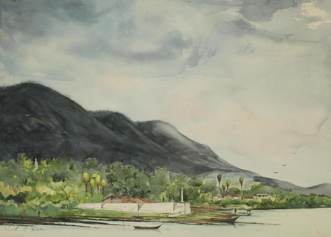VELASQUEZ, E. Watercolor. River Landscape.