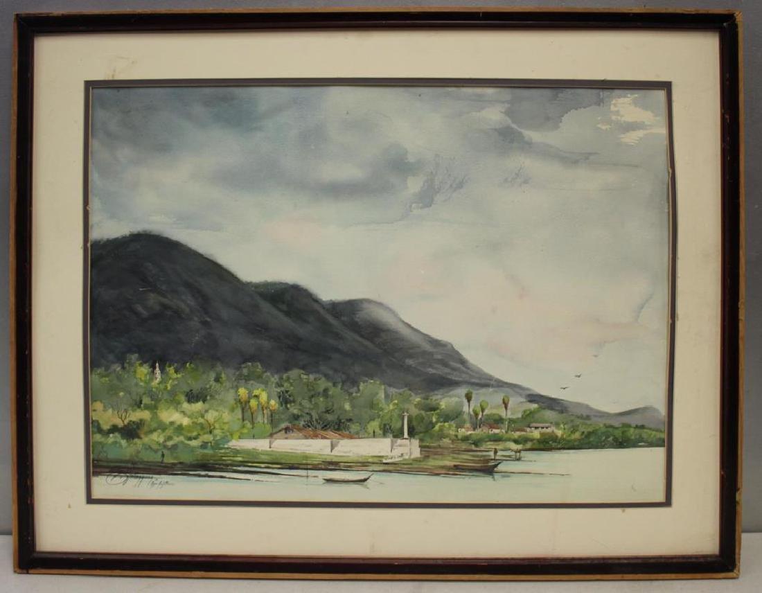 VELASQUEZ, E. Watercolor. River Landscape. - 2
