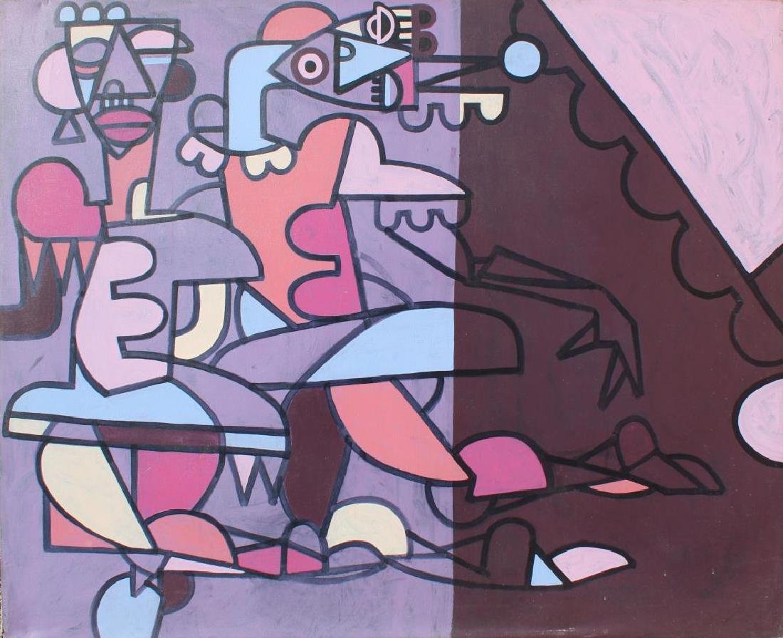 UNSIGNED. Oil On Canvas. Geometric Abstracted Figures.
