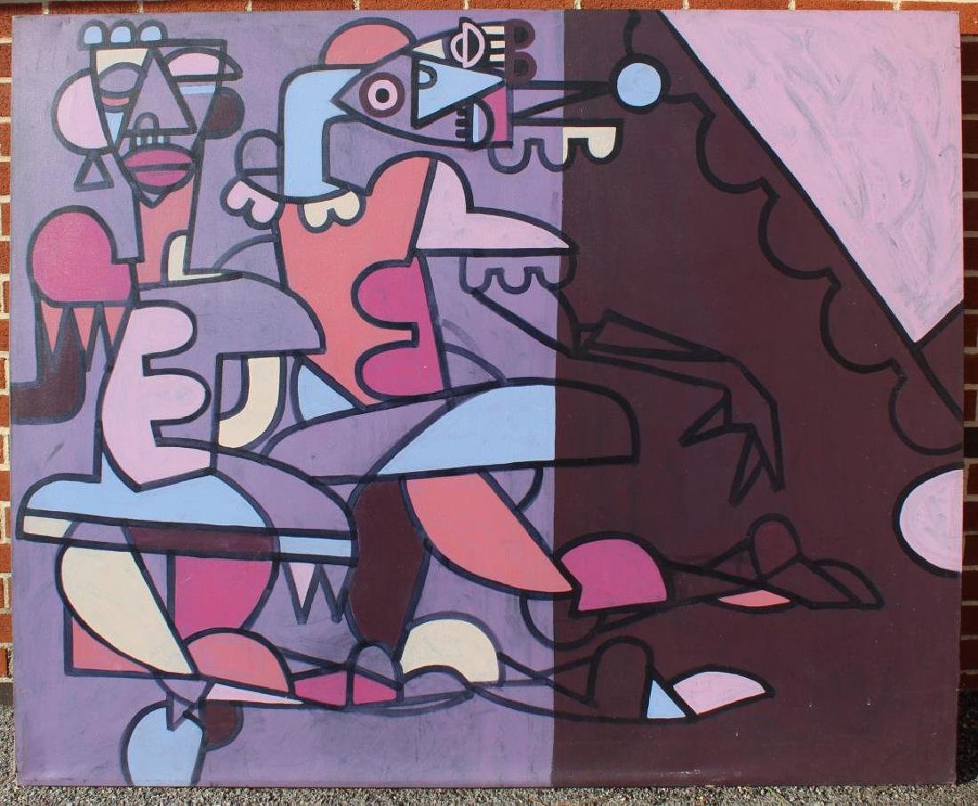 UNSIGNED. Oil On Canvas. Geometric Abstracted Figures. - 2