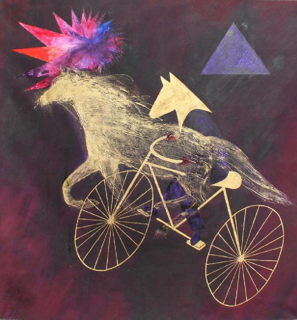 """GIESSMAN, Nancy. Oil on Canvas. """"Ride for"""