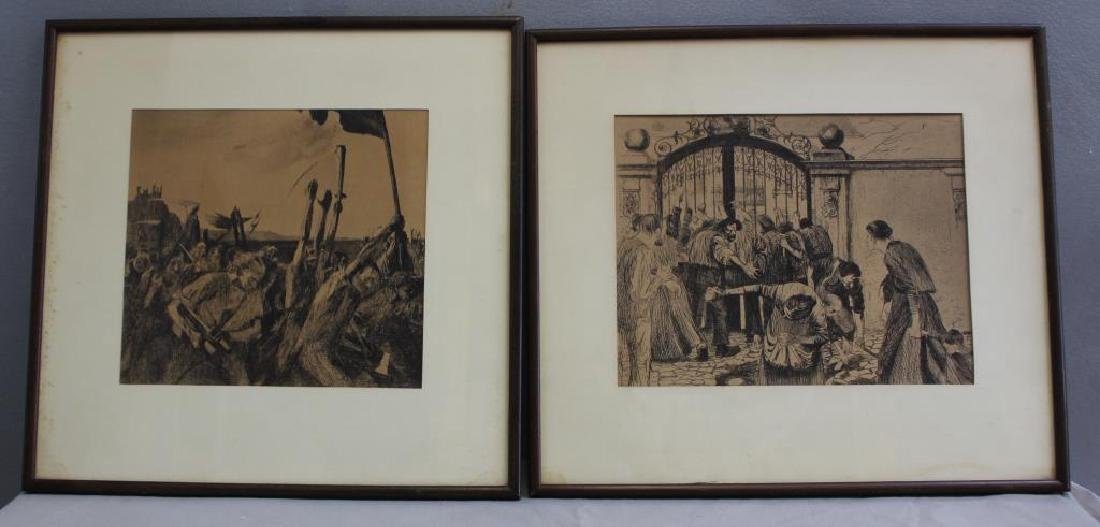 UNSIGNED. Lot of Two Prints. Peasant Revolt Scenes