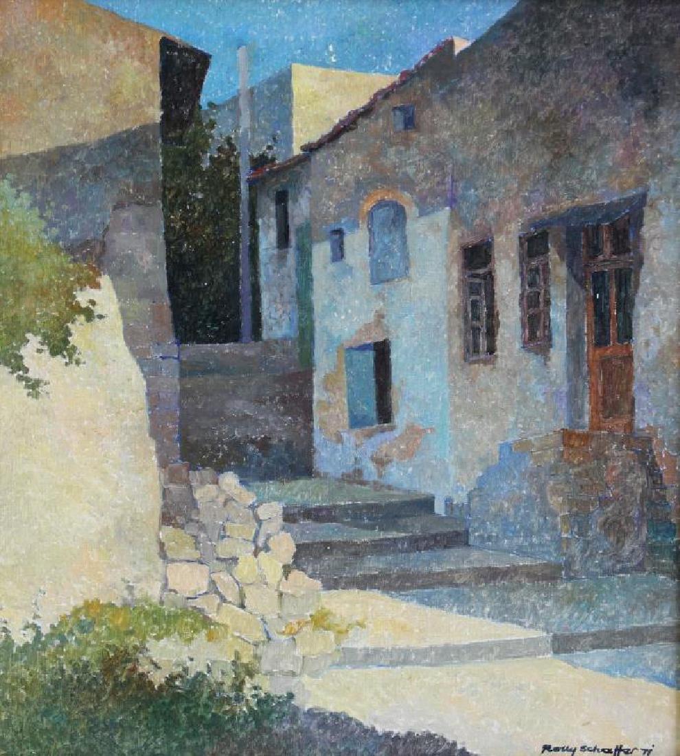 SCHAFFER, Rolly. Oil on Canvas. Village Scene.
