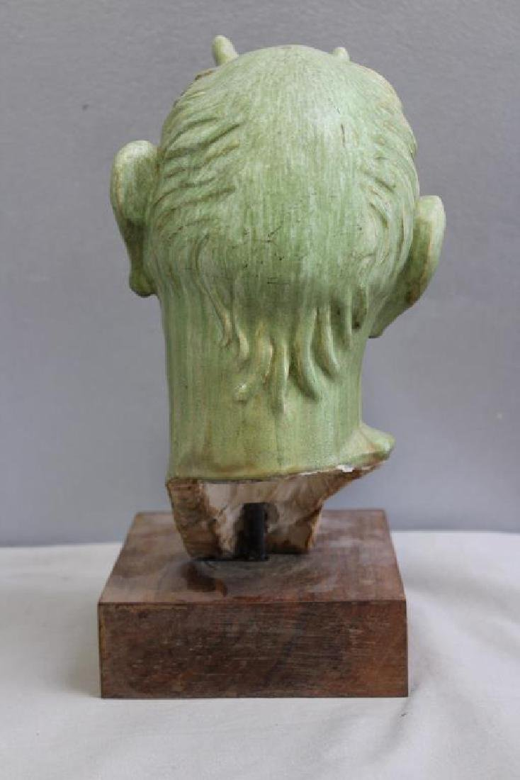 UNSIGNED. Ceramic Bust. Horned Figure. - 4
