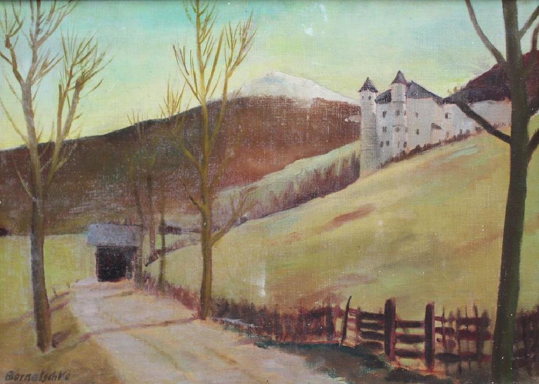 BERNATSCHKE. Oil on Canvas. Castle in Landscape.