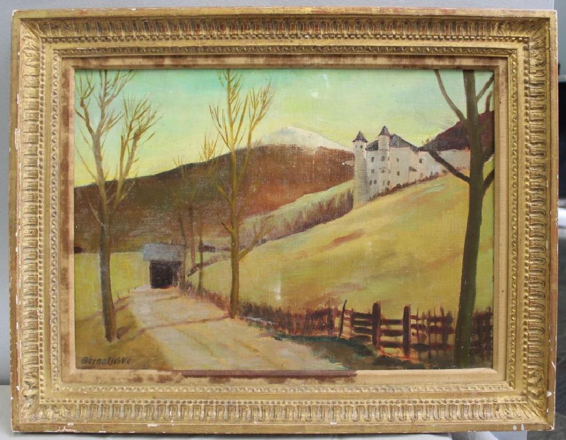 BERNATSCHKE. Oil on Canvas. Castle in Landscape. - 2