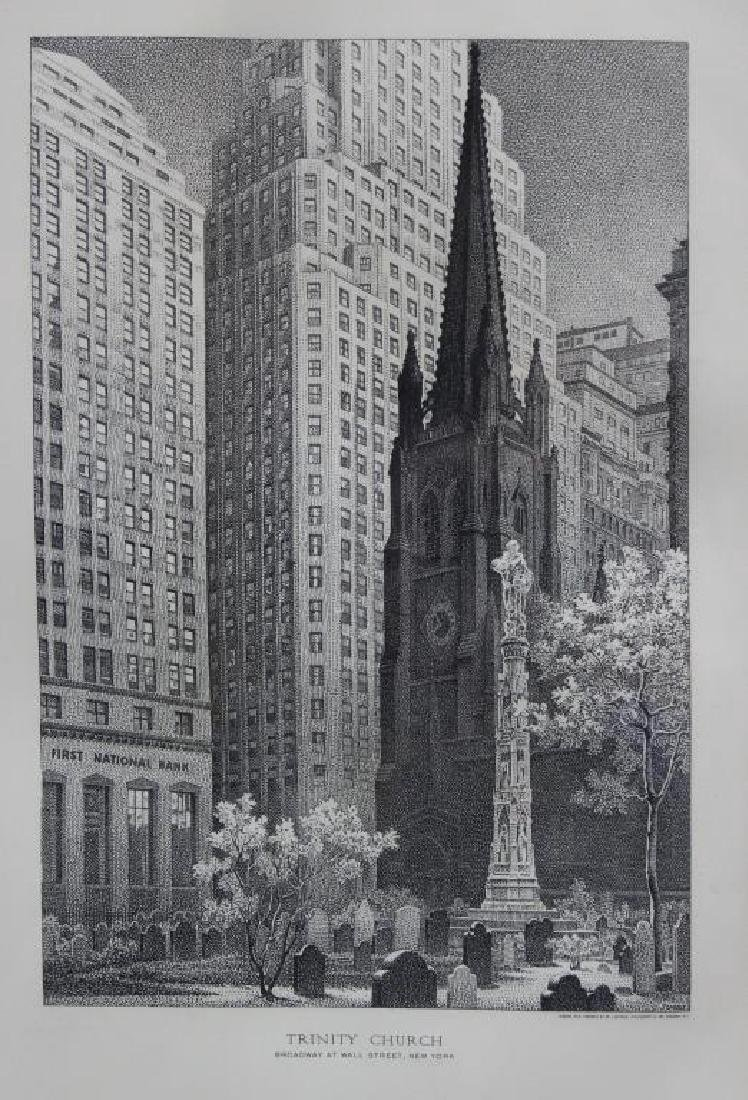 "SUESS, Paul. Steel engraving. ""Trinity Church""."
