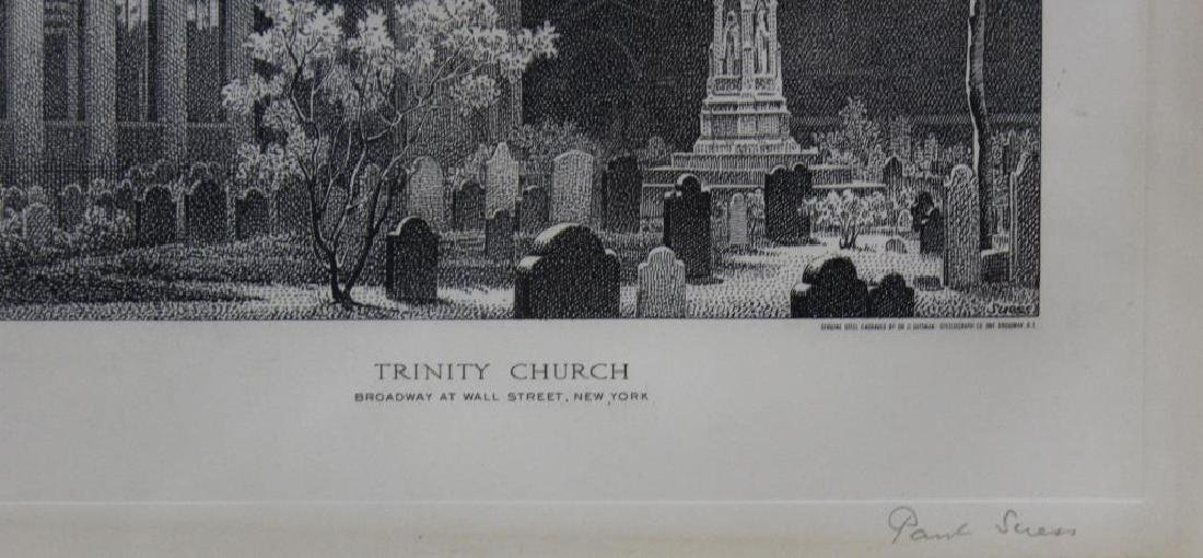 "SUESS, Paul. Steel engraving. ""Trinity Church"". - 3"