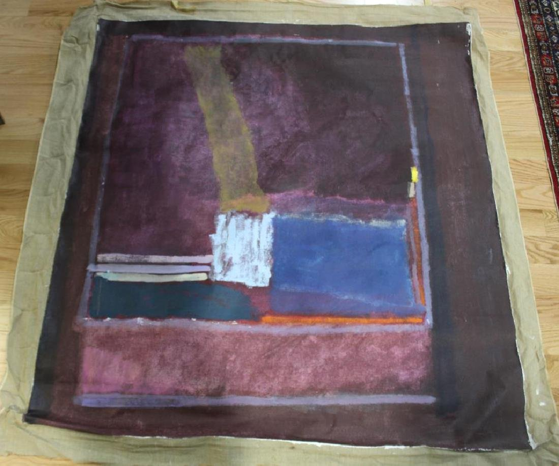 UNSIGNED. Large Unframed Midcentury Oil On Canvas - 2