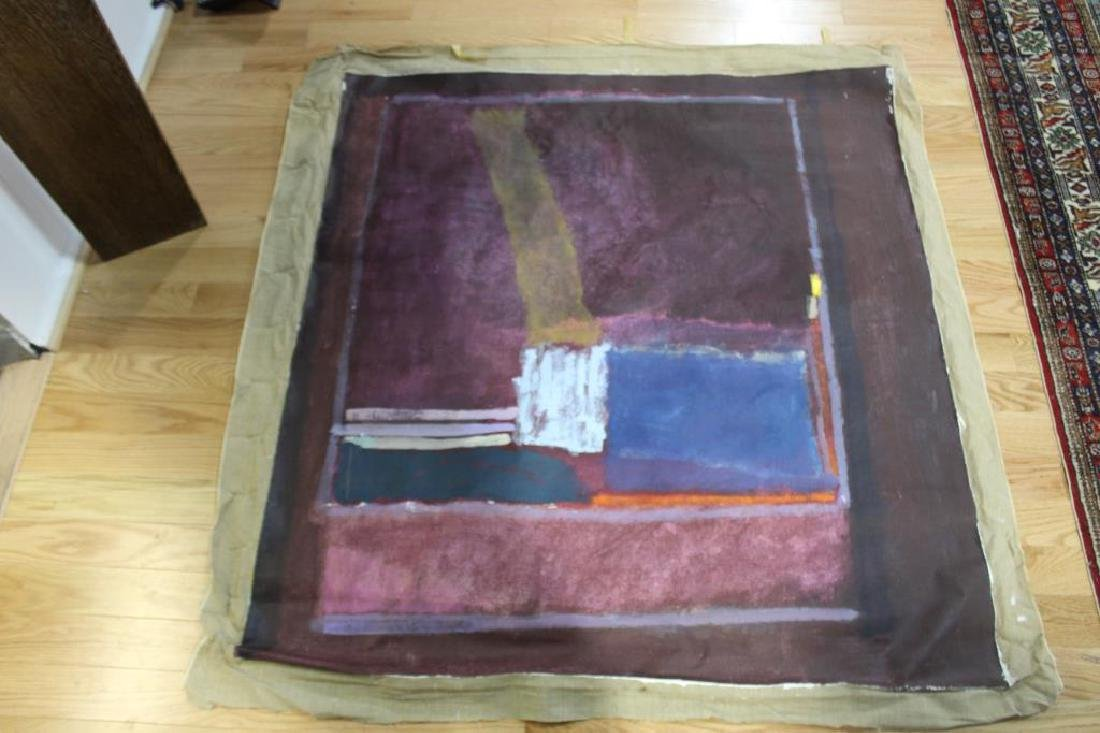 UNSIGNED. Large Unframed Midcentury Oil On Canvas - 3