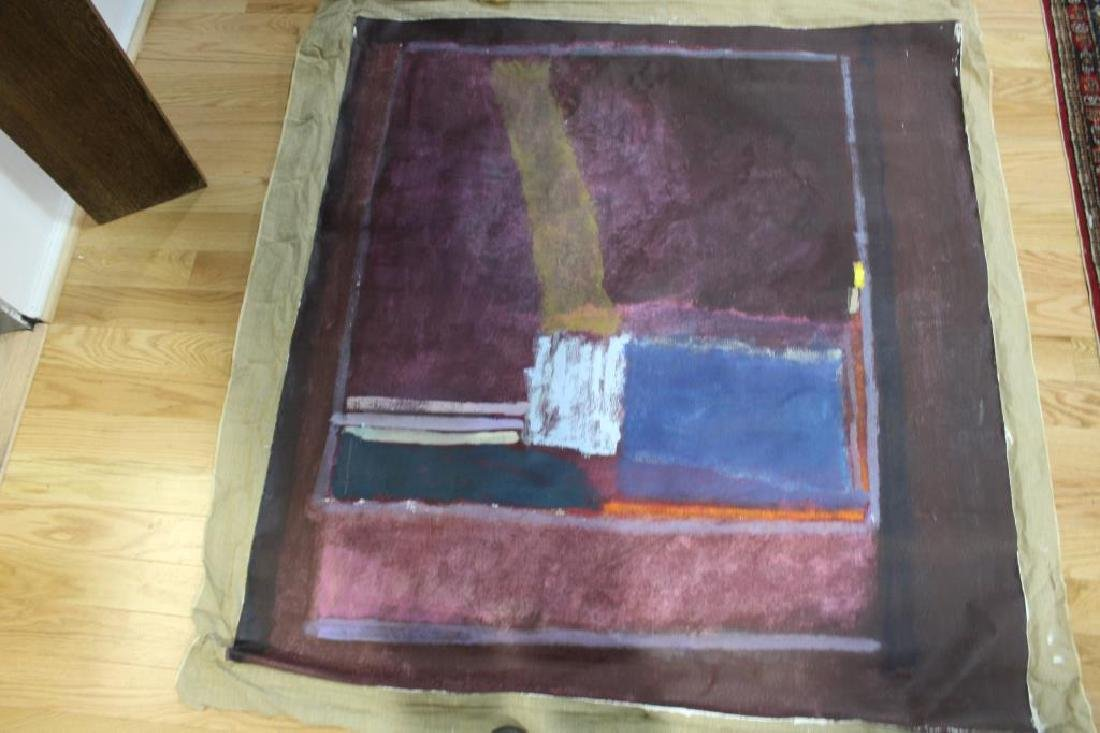 UNSIGNED. Large Unframed Midcentury Oil On Canvas - 4
