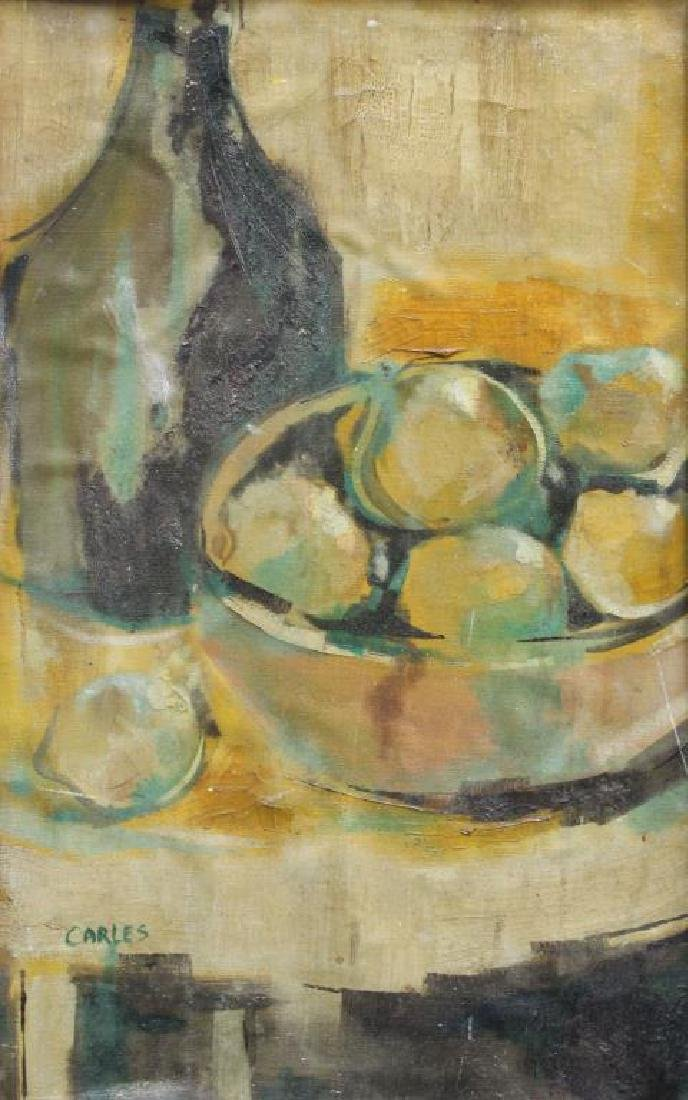 CARLES. Oil on Canvas Laid on Board. Still Life.