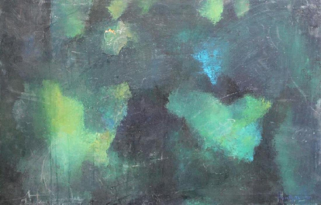 ILLEGIBLY Signed. Oil on Canvas. Green Abstract.