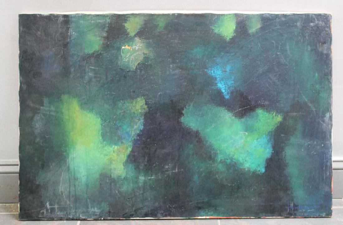 ILLEGIBLY Signed. Oil on Canvas. Green Abstract. - 2