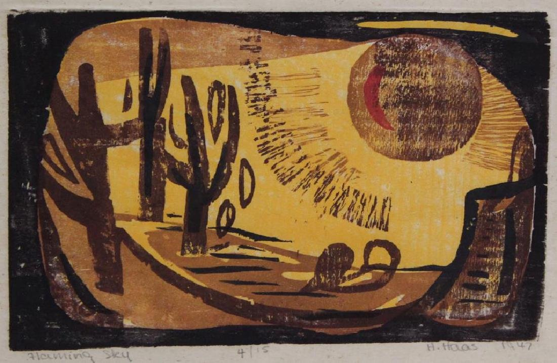 """HAAS, Hildegarde. Woodcut. """"Flaming Sky"""". 1947."""